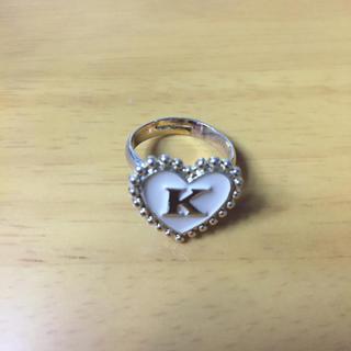 美品 ハート型リング K 指輪 ベージュ×ゴールド(リング(指輪))