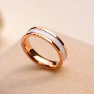 NEW高品質ピンクゴールド白輪指輪(リング(指輪))