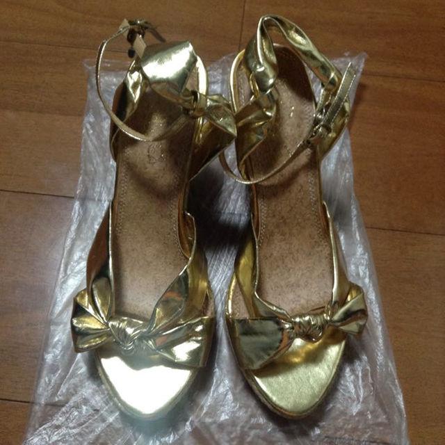 ゴールド★ウェッジソール レディースの靴/シューズ(サンダル)の商品写真