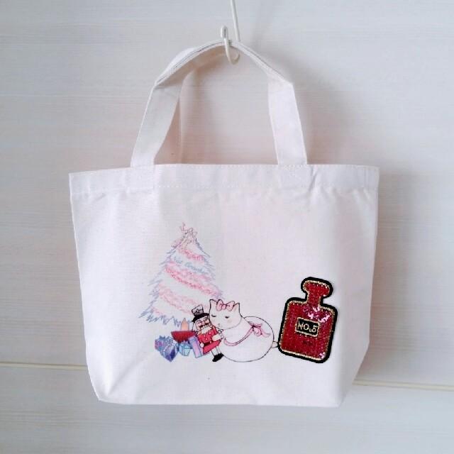 キャンバストート S 【ネコリーナとくるみ割り人形 Dタイプ】 レディースのバッグ(トートバッグ)の商品写真