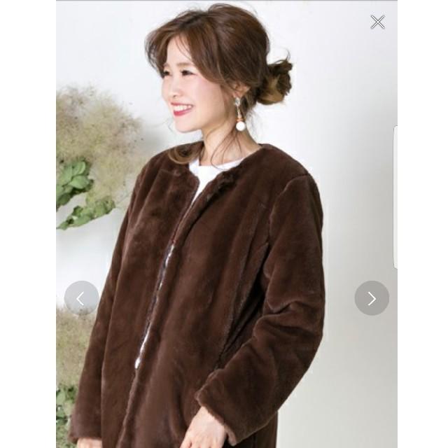 エコーファーコート ノーカラーコート ブラウン レディースのジャケット/アウター(毛皮/ファーコート)の商品写真