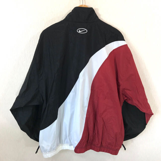 ナイキ(NIKE)の90s ☆ Nike アシンメトリー ナイロンジャケット XXL 黒 白 赤(ナイロンジャケット)