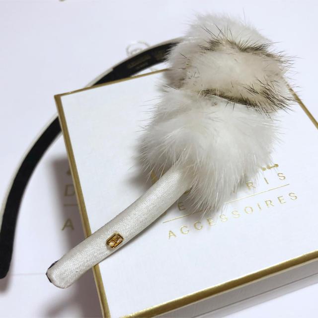 Alexandre de Paris(アレクサンドルドゥパリ)のアレクサンドルドゥパリ カチューシャ ミンク ジョリーミノワ ホワイト レディースのヘアアクセサリー(カチューシャ)の商品写真