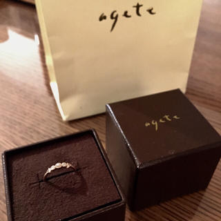 アガット(agete)の美品★agete アガット ピンキー リング 指輪 ダイヤモンド パール(リング(指輪))