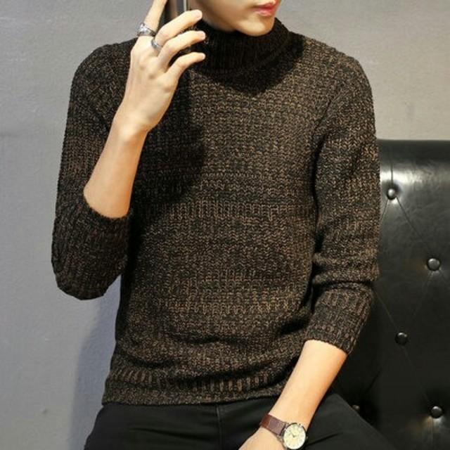 ブラウン高襟セーター メンズのトップス(ニット/セーター)の商品写真