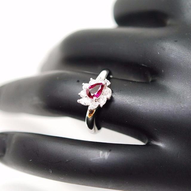 ■マルヨ質舗■Pt900■ペアシェイプルビーダイヤ巻きリング9.5号【質屋】 レディースのアクセサリー(リング(指輪))の商品写真