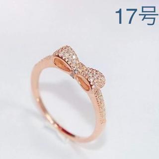 17号リボンCZ パヴェリング 指輪 ピンクゴールドカラー(リング(指輪))