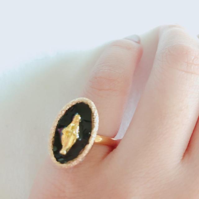 ブラック×マリア×ゴールドリング ハンドメイドのアクセサリー(リング)の商品写真