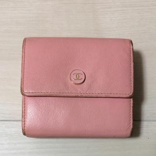 シャネル(CHANEL)の最終価格 CHANEL シャネルココボタン 折り財布 ピンク ダブルホック(財布)