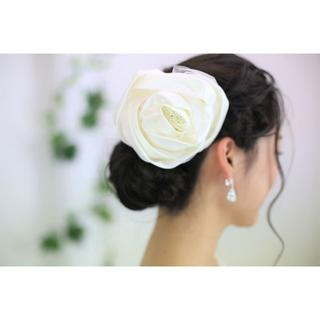 1点もの*日本製 ローズ(薔薇)のヘッドドレス ウエディング*アイボリー(ウェディングドレス)