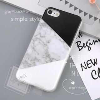 ホワイト×ブラック iPhone 大理石 シンプル(iPhoneケース)