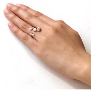お値下げK10パールとジルコニアフォークリング(リング(指輪))