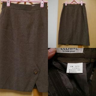 膝丈スカート ブラウン 11号(ひざ丈スカート)