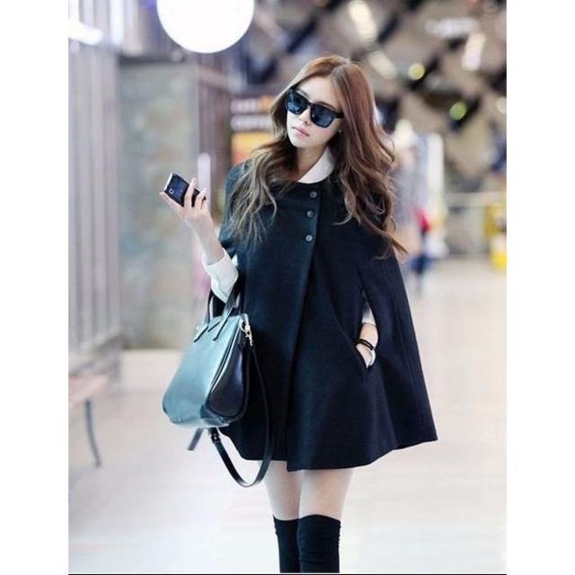 新品☆Aラインポンチョジャケット ブラック レディースのジャケット/アウター(ポンチョ)の商品写真