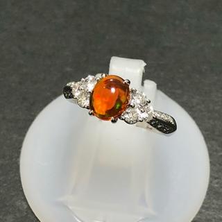 セール!  pt900 プラチナ ファイアーオパール ダイヤモンド リング 指輪(リング(指輪))