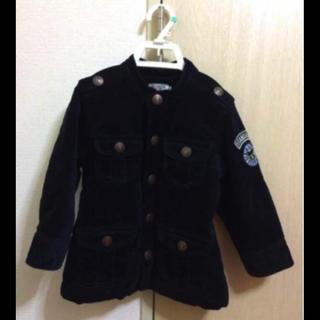 ミキハウス(mikihouse)の957男の子100ミキハウスダブルビーの紺の中綿入りコート 美品(ジャケット/上着)