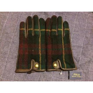 ラルフローレン(Ralph Lauren)のタータンチェック手袋グローブラルフローレンバーバリーウールレザー(手袋)