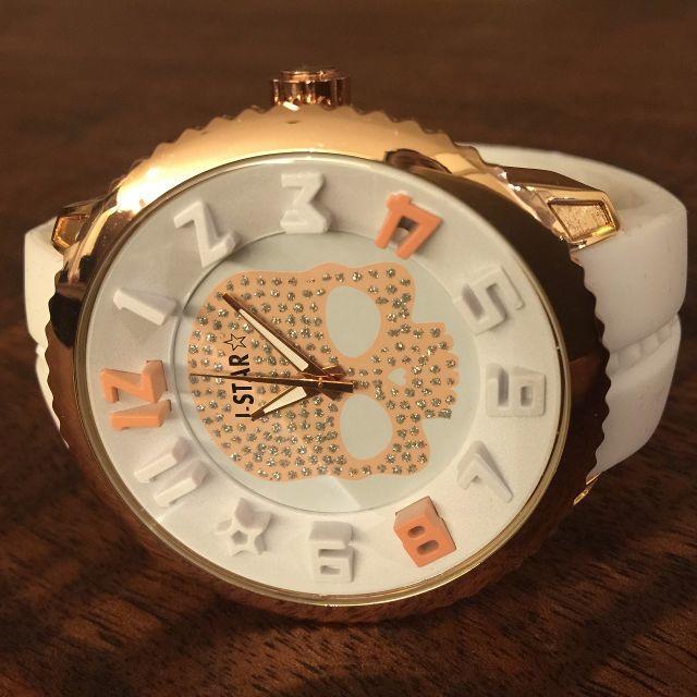 ジルコニアのドクロデザインがかっこいい♪メンズ腕時計◇ゴールド×ホワイト メンズの時計(腕時計(アナログ))の商品写真