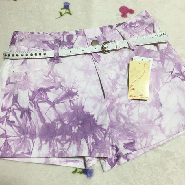 新品 パープルダイダイ染め ショートパンツ M〜L レディースのパンツ(ショートパンツ)の商品写真