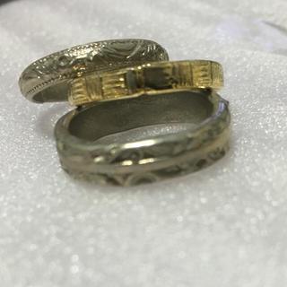 メッキ三連リング (アンティーク模様)シルバー×2 ゴールド×1 10号(リング(指輪))