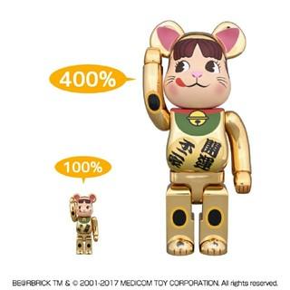 フジヤ(不二家)のBE@RBRICK 招き猫 ペコちゃん 金メッキ 100% & 400% (キャラクターグッズ)