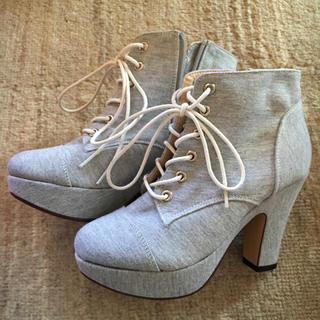 エスペランサ(ESPERANZA)のショートブーツ sサイズ グレー (ブーツ)