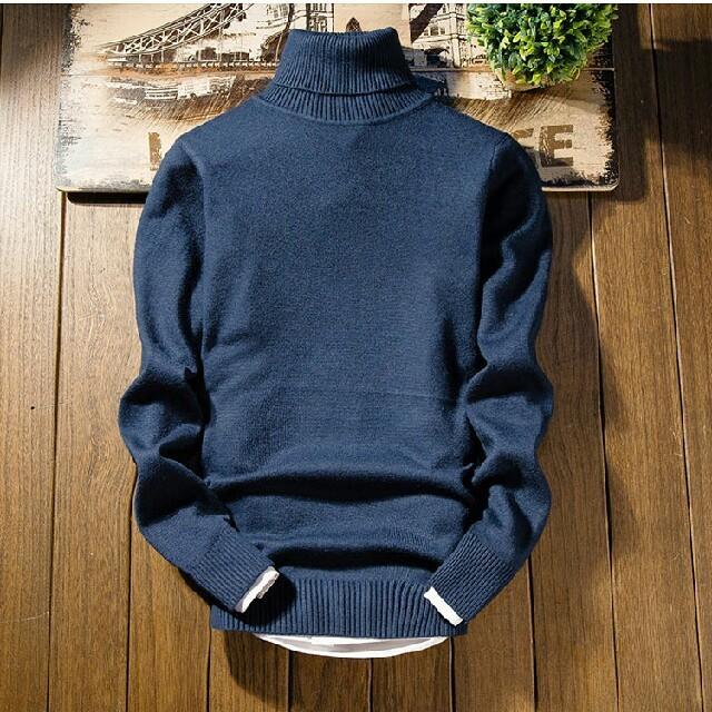 ブルー色 韓国風 無地セーター  メンズのトップス(ニット/セーター)の商品写真