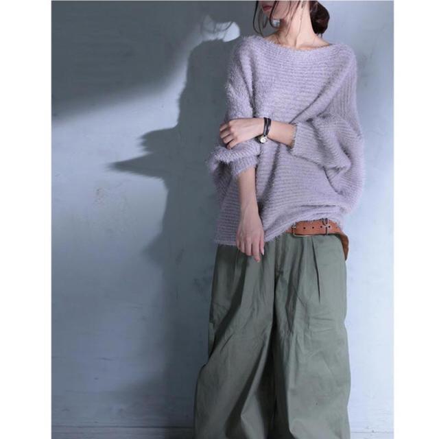 antiqua(アンティカ)のantiquaアンティカ☆リブ編みシャギードルマンニット☆グレイッシュピンク レディースのトップス(ニット/セーター)の商品写真