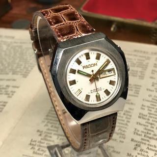 リコー(RICOH)の80's ビンテージ リコー 自動巻メンズ時計 OH済 ホワイト/ゴールド(腕時計(アナログ))