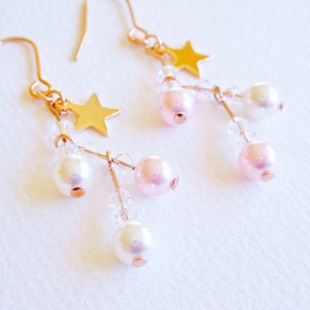 ピンクゴールド☆星とパールのZIGZAG ハンドメイドのアクセサリー(ピアス)の商品写真