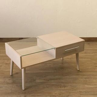 新品☆引き出し付きガラステーブル(ローテーブル)