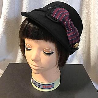 カシラ(CA4LA)のCA4LA リボン ハンチング リボン帽子 ハット ブラック(ハット)