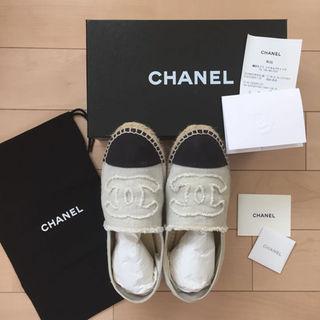 シャネル(CHANEL)の正規品 CHANEL エスパドリーユ ホワイト × ブラック 40(その他)