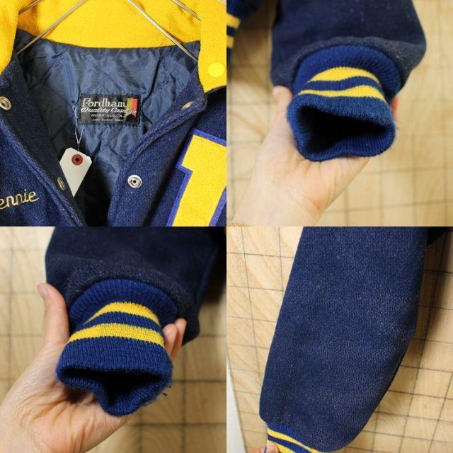 USA 80s イエロー ワッペン メルトン ウール スタジャン M相当 sj1 メンズのジャケット/アウター(スタジャン)の商品写真