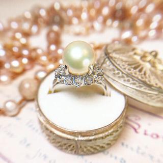 ヴィンテージ✧Pt900❅雪の結晶パールとダイヤの唐草リング⋆アガット 好きな方(リング(指輪))