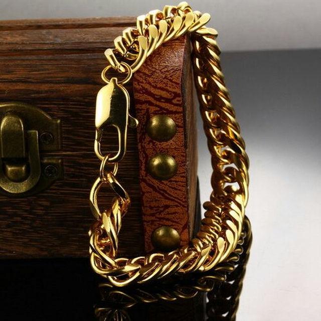 (51)ゴールド喜平ブレスレット/ステンレスチェーン/ゴールドチェーン メンズのアクセサリー(ブレスレット)の商品写真