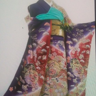 京友禅 高級品 振袖 紫 パープル(振袖)