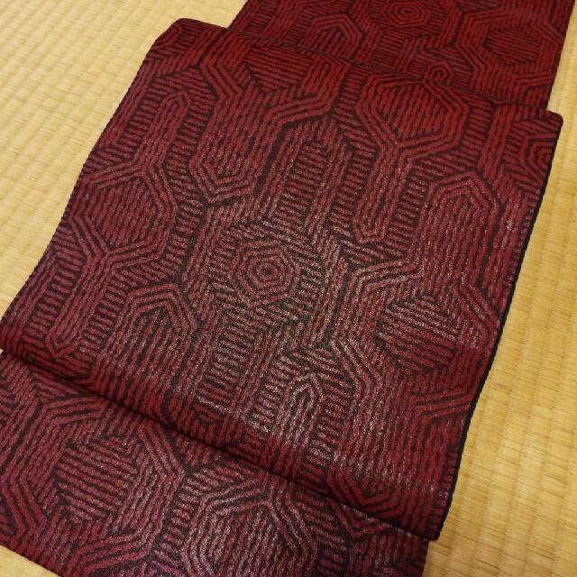 正絹 全通 袋帯❤黒 エンジ 中古 レディースの水着/浴衣(帯)の商品写真
