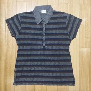ジーユー(GU)の難ありXS~Sサイズ 綿100%ボーダーポロシャツ グレー(ポロシャツ)