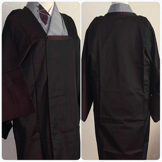 ★雨コート 黒赤 無地 光沢 正絹★y レディースの水着/浴衣(着物)の商品写真