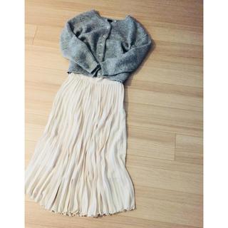 バーニーズニューヨーク(BARNEYS NEW YORK)のバーニーズニューヨーク購入、シフォンプリーツマキシスカート、オフホワイト(ロングスカート)