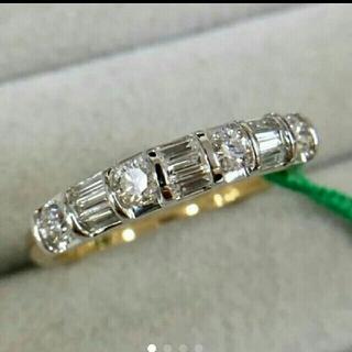 0.5ct テーパー ラウンド ダイヤ コンビ リング k18  鑑別書付(リング(指輪))
