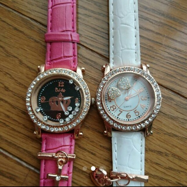 腕時計 レディース キラキラ ピンク 白 ハートクロス王冠 レディースのファッション小物(腕時計)の商品写真