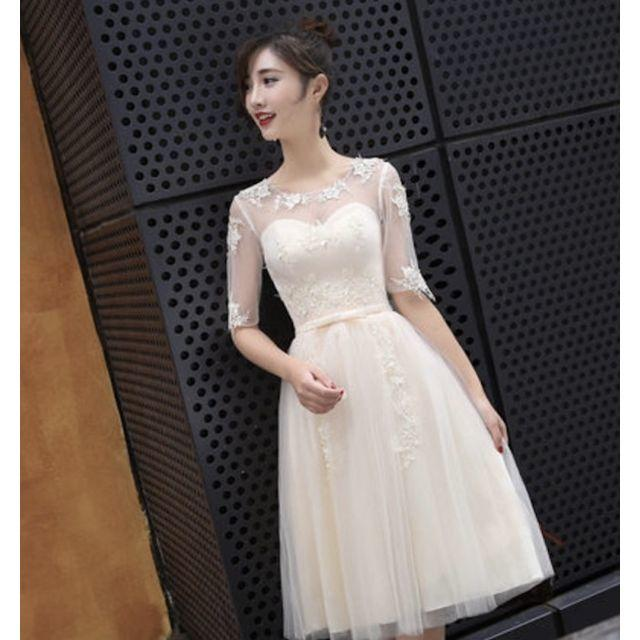 4323e298f14b3 ミモレ丈ロング丈ミニドレスレース袖ワンピースウェディングドレス二次会衣装106 レディースの
