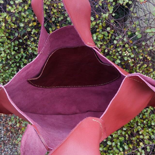 ダークレッド*まるトート ハンドメイドのファッション小物(バッグ)の商品写真