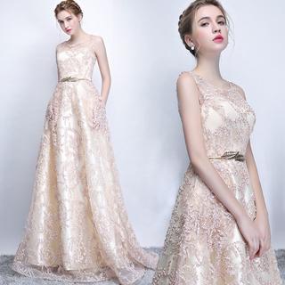 ベルト付きノースリーブワンピース二次会パーティーウェディングドレス165(ウェディングドレス)