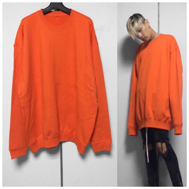 ビッグサイズ ドロップショルダー ロングスリーブ オレンジカラー メンズのトップス(スウェット)の商品写真