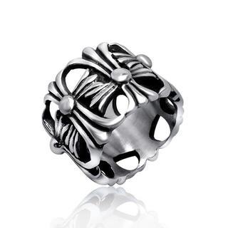 303 【高級品】重みあり、チタンステンレス黒墨コーティングクロスリング (リング(指輪))