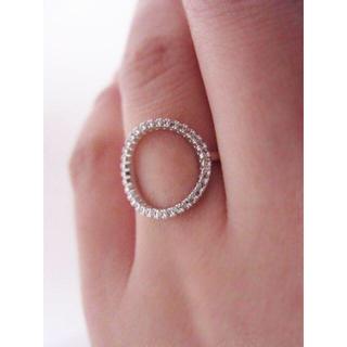 繊細 輝く CZ O リング 指輪 重ね付け ピンク ゴールド(リング(指輪))