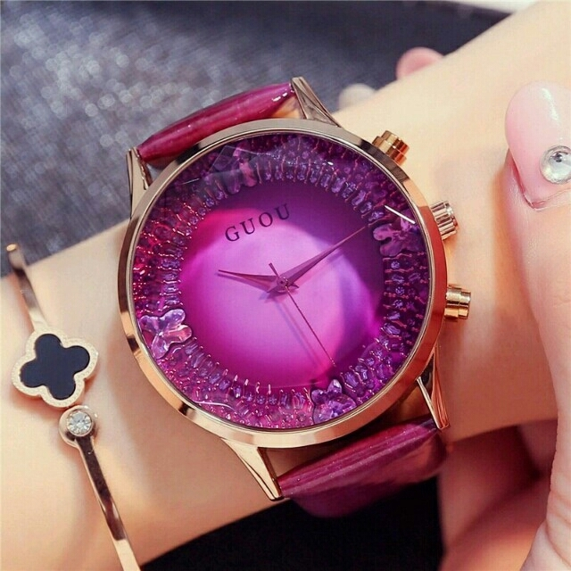 GUOU クリスタルウォッチ パープル×ゴールド レディースのファッション小物(腕時計)の商品写真